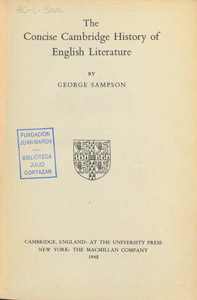 Front Cover : The concise Cambridge history of English literature
