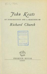 Front Cover : John Keats
