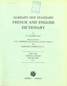 Front Cover : Harrap's new standard French and English dictionary