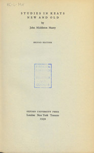 Front Cover : Studies in Keats new and old