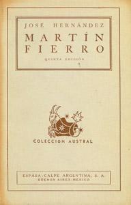 Cubierta de la obra : Martín Fierro