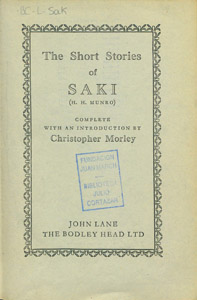 Cubierta de la obra : The short stories of Saki (H. H. Munro)
