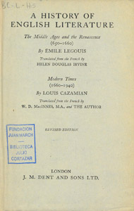 Front Cover : A history of English literature
