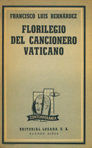 Cubierta de la obra : Florilegio del Cancionero Vaticano