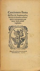 Cubierta de la obra : Cancionero llamado flor de enamorados (Barcelona 1562)