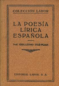 Cubierta de la obra : La poesía lírica española