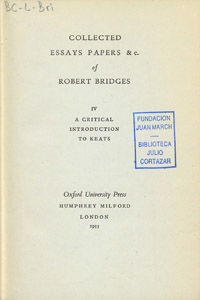 Cubierta de la obra : Collected essays papers &c. of Robert Bridges