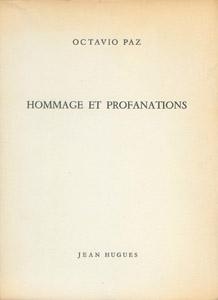 Cubierta de la obra : Hommage et profanations