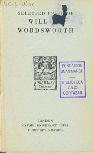 Cubierta de la obra : Selected poems of William Wordsworth