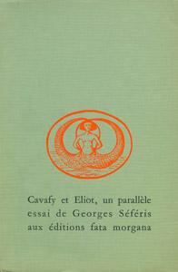 Cubierta de la obra : Cavafy et Eliot, un parallèle