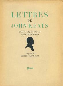 Cubierta de la obra : Lettres de John Keats