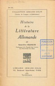 Cubierta de la obra : Histoire de la littérature allemande