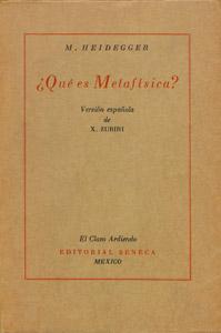 Cubierta de la obra : Qué es Metafísica?