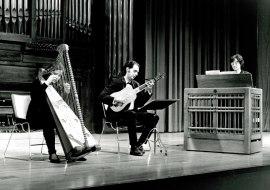 Presentación Ríos, Nuria Llopis y Juan Carlos de Mulder. Concierto Música para tecla, arpa y vihuela , 1995
