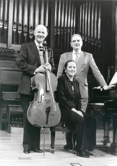 Carlos Prieto, Chiky Martín y Tomás Marco. Concierto El violonchelo iberoamericano