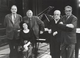 Tomás Marco, Karl-Hermann Mrongovius, Begoña Uriarte, Josep Soler y Joan Guinjoan. Concierto Aula de (Re)estrenos (33) , 1998