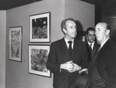 Ernest Beyeler, Carlos March Delgado y Manuel Arburúa de la Miyar. Exposición Jean Dubuffet