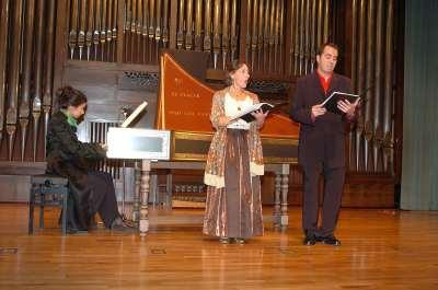 Grupo Música Oculta, Luis Calero, Henar Álvarez y Alberto Martínez Molina. Concierto Música española barroca