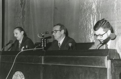 Antonio Buero Vallejo, Eugenio de Bustos y Luis Iglesias Feijoo en el ciclo Literatura Viva