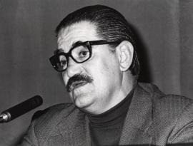 Lauro Olmo en el ciclo Literatura Viva, 1976