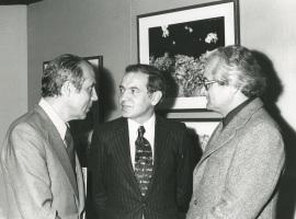 Francisco Farreras, Pablo López de Osaba y Profesor Plinke. Exposición Jean Dubuffet, 1976