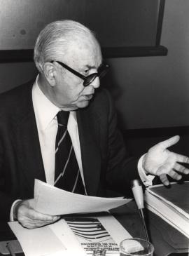 Pedro Laín Entralgo en el IX Simposio Interdisciplinar de Filosofía y Medicina, 1979