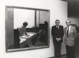 Hans Heinrich von Thyssen-Bornemisza y José Luis Yuste Grijalba. Exposición Edward Hopper, 1989