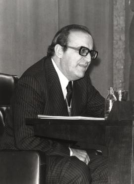 Enrique Fuentes Quintana. Conferencia sobre Factores de la crisis dentro del ciclo La crisis económica española , 1979