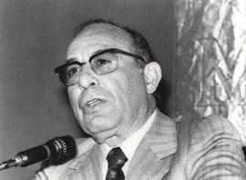 Mariano Yela en el ciclo Problemas actuales de la psicología científica, 1980