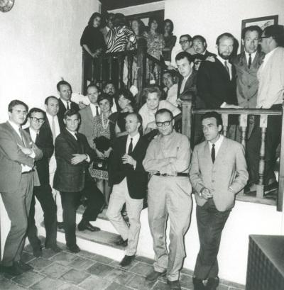 Grupo El Paso y Fernando Zóbel durante la inauguración del Museo de Arte Abstracto Español de Cuenca.