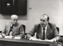 Massimo Severo Giannini y Sebastián Martín Retortillo en el Seminario sobre Autonomías Territoriales, 1983