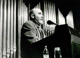 Luis de Pablo en la presentación del Concierto Monográfico sobre su obra, 1990
