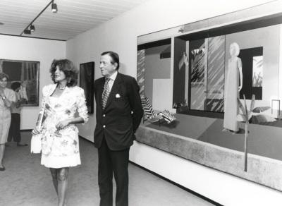 Tita Cervera y Hans Heinrich von Thyssen-Bornemisza. Exposición David Hockney