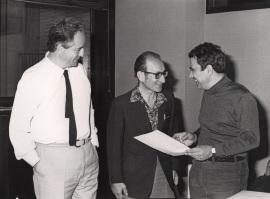 Francisco García Olmedo, Cesar Milstein y Juan Antonio Subirana. Reunión consejo Científico, 1985