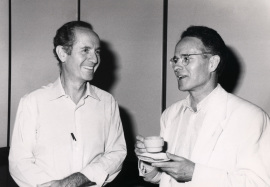 Joan Modolell y José Antonio Campos Ortega. Workshop Genetics of neurogenesis in drosophila, 1990