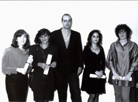 Elisa Chuliá, Ana Rico Gómez, Salvador Durán, Pilar Gangas y Berta Álvarez-Mirada. Entrega diplomas de Maestros y Doctores del CEACS, 1991