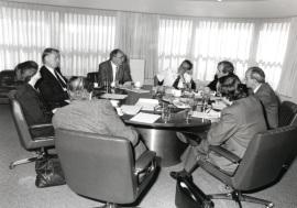 Miguel Artola, Francisco Rubio Llorente, José María Maravall, Suzanne Berger, Karl Kaiser, Juan José Linz, Leopoldo Calvo Sotelo Ibáñez-Martín y José Luis Yuste Grijalba. Reunión Consejo Científico, 1992