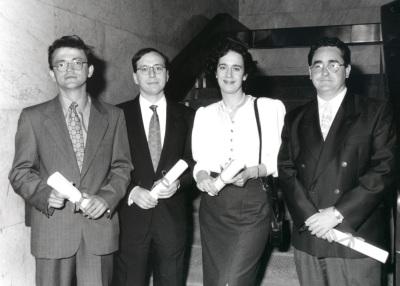 Víctor Sampedro, Leonardo Sánchez, Ana Marta Guillen y Josu Mezo. Doctores en Ciencias Sociales