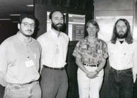 Fernando Azorín, Alfredo Villasante, Barbara Trask y Chris Tyler Smith. Workshop Chromosome Behaviour the Structure and Function of Telomeres and Centromeres, 1996