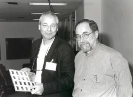 Jaap Gondsmit y David Baltimore. Seminario Vacuna contra el SIDA, 1997