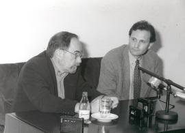 David Baltimore y Carlos Martínez Alonso. Seminario Vacuna contra el SIDA (Rueda de Prensa), 1997