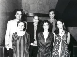 Pablo María Klose, Francisco Javier Moreno Fuentes, Javier Ramos Díaz, Covadonga Meseguer Yebra, Emma Cerviño Cuerva y Antonia María Ruíz Jiménez. Entrega diplomas de Maestros y Doctores del CEACS, 1998