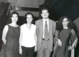 Sonia Alonso Sáenz de Oger, Belén Barreiro Pérez-Pardo, Javier Astudillo y Ana Rico Gómez. Entrega diplomas de Maestros y Doctores del CEACS, 1998