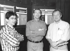 Juan Miguel Redondo, Sven Pettersson y Patrick Mathias. Workshop Transcription Factors in Linphacyte Development and Function, 1998