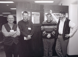 Cristóbal Mezquita, Thomas Sommer, Aaron Ciechanover y Finley Daniel. Workshop The Ubiquitin-Proteasome System, 2002
