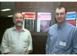 Hans Joenge y Jordi Surrallés. Workshop: Molecular Cross Talk Among Chromosome Fragility Syndromes, 2004