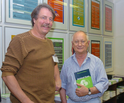 Claude Desplan y Michael F. Land. Workshop The Genetic Control of Eye Development and its Evolutionary Implications