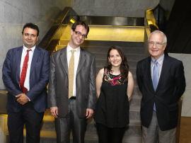 Ignacio Sánchez-Cuenca, Alvaro Martínez, Inmaculada Serrano y José María Maravall. Entrega diplomas de Maestros y Doctores del CEACS, 2011