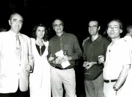 Tomás Marco y Jacinto Torres en la presentación del Libro-Catálogo de la Biblioteca de Música Española Contemporánea, 2001