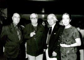 Ramón Barce, Javier Alfaya y Gonzalo de Olavide en la presentación del Libro-Catálogo de la Biblioteca de Música Española Contemporánea, 2001